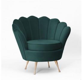 Fotel MUSZELKA wrzosowy/ nóżki złote/ BL78