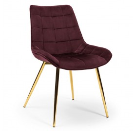 Krzesło KAIR burgundowy/ noga złota