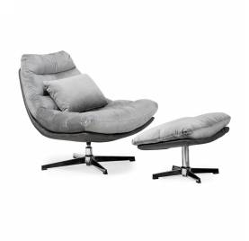 Fotel obrotowy COLORADO z podnóżkiem/ srebrny - AT