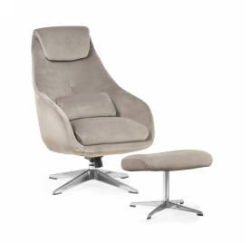 Fotel KENT z podnóżkiem/ szary - AT