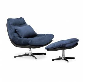 Fotel obrotowy COLORADO z podnóżkiem/ granatowy - AT