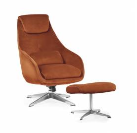 Fotel KENT z podnóżkiem/ rdzawy - AT