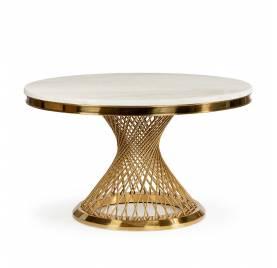 Stół ROMANCE biały marmur/ noga złota